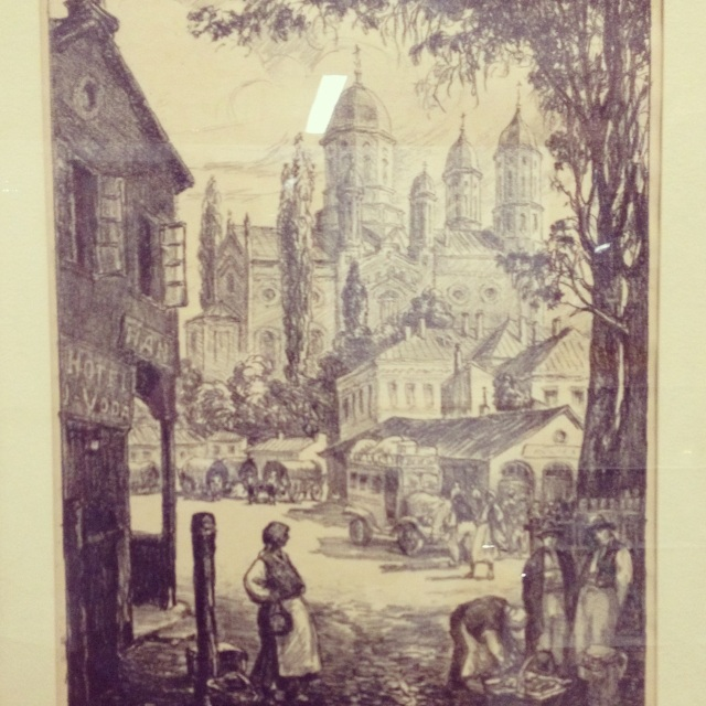Antique Village Lithograph